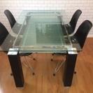 ニトリ ガラスダイニングテーブルとイームズ風チェアセット