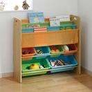 おもちゃのおかたずけが自分でできる!子供用本棚+おもちゃ箱収納棚 ...