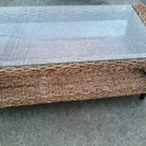 木製&ガラス モダン アンティーク ローテーブル差し上げます