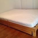 ダブルサイズ 収納付すのこベッド(マットレス付)