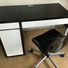 IKEA 机、イス(難あり、割れたので黒テープで補強してあります)