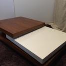 【ホワイト×ブラウン】オシャレなターン式ローテーブル
