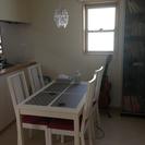 IKEAホワイト テーブル&チェアー×4 セットで12000円