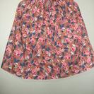 スカート お花のプリント コットン製(茶色)