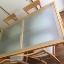 K style ダイニング5点セット 中古品 ガラス天板