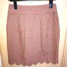 未使用美品 スカラップ 膝丈スカート 赤 ツイード