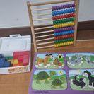 知育玩具3点◆型はめパズル・100玉そろばん・カラーブロック