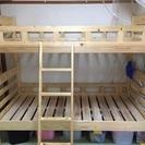 【国産】ノンホルムアルデヒド  蜜ろう仕上げのコンパクト2段ベッド