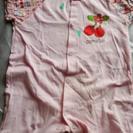 ピンク 半袖、半ズボンさんらんぼ柄ロンパース 80