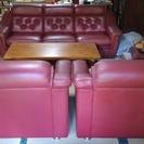 本革ソファー 5人掛けセット 木製テーブル付き