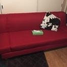 【取引中】赤 2人掛けソファーベッド