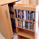 CD DVD収納 3連ラック DVD収納300枚可能 キャスター付き