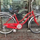売り切れました!アサヒ自転車 24インチ シティサイクル 赤 アジ...