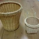 藤製 ラタン 鉢カバー カゴ 籠 ダストボックス 収納 2個セット