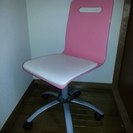回転キャスター付きデスク用チェア 椅子 ピンク 高さ調節可能