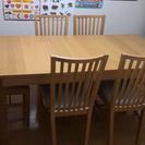 拡張パネル付きダイニングテーブル 椅子6脚