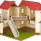 シルバニアファミリー 人形、テラス、家具、明かりの灯る大きなお家