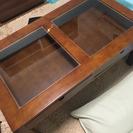 ガラス天板ローテーブル