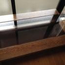 値段交渉可◉ガラスと重厚感ある木製テーブル