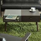 収納できるカフェテイストのローテーブル!半分ガラスでオシャレ/座卓...