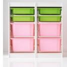 イケアTROFAST 子供用収納棚 白、ピンク、グリーン(3台セット)