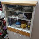 (取引完了)食器棚 白×ウッド調天板 ガラス戸×引き出し×観音扉