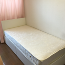 美品 マットレス 収納付きシングルベッド