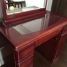 【値下げしました】バーガンディーカラーのすてきなドレッサー、一面鏡