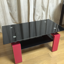 【赤×黒】ガラス座卓テーブル