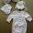 【受付終了】新生児 2wayドレス ベビー服 帽子 ホワイト系 サ...