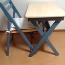 <交渉中>木製折り畳みデスク&チェアセット
