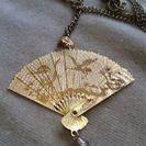 値下げ【和柄】扇形の金色のネックレス