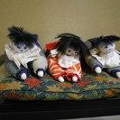 ちりめん人形 3つ 手作り 下に敷く座布団付き