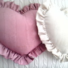 ハート型のクッション♪ ホワイト&ピンク