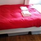 IKEAダブルベッド+マットレス+シーツ+ベッドカバー格安です!