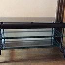 【値下げ】強化ガラストップ テレビボード W100cm × D45...