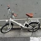 中古 折りたたみ自転車 6段変速ギア ホワイト