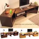 伸縮性 ウッドテレビボード アンティーク