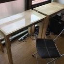 自作の机、幅違いで2つ、その1 :幅87×奥45×高71(cm)、...