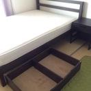 ダブル無印ベッド3点セット(フレーム、マトレス、引き出し)
