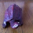 【置物】幸運を呼ぶ木彫りの亀