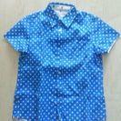 水色水玉、サイズM、レディース半袖シャツ