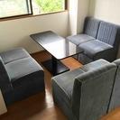 【商談中】[中古]テーブル&ソファ[4脚]セット(石材テーブル&分...