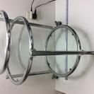 サイドテーブル ガラス製シルバー色フレーム ベッドサイド