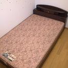 【売却済】●収納付きセミダブルベッド(フランスベッド製マット)