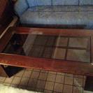 木製 天板ガラスセンターテーブル