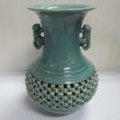 【光成】高麗青磁◆鶴図透彫◆花器◆花瓶◆獣耳