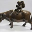 【鉄製】牛笛吹童子◆子供と牛◆鋳物◆オブジェ◆置物