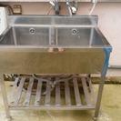 屋外用 流し台 ツイン洗い場 中古 横90×縦60×高80
