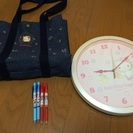 【キティ・ディズニー】掛け時計(2個)、トートバッグ、ボールペン